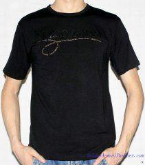 T-shirt à Manches Courtes Giorgio Armani Homme Pas Cher Noir