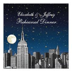 NYC ESB Skyline Blue Star Moon Rehearsal Dinner Invitation