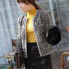 [Miamasvin] White & Black Blend Knit Cardigan