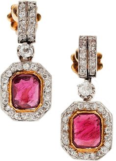 Antique Ruby, Diamond, Platinum-Topped Gold Earrings  The earrings feature rectangle-shaped rubies weighing a total of approximately 1.50 carats, set in 18k gold, accented by European and single-cut diamonds weighing a total of approximately 1.25 carats, set in platinum-topped gold