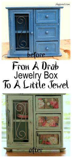 I have been inspired to see what I could do with an old jewelry box after seeing what my blogging buddies, Florence of Vintage Southern Picks and Ann of Duct Tape and Denim did with the ones they found.  So I decided to take this from a drab jewelry box to a little jewel like they did for the Thrift Store Upcycle Décor Challenge this month.