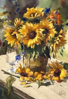 Oil Painting Tips Sunflower Art, Watercolor Sunflower, Watercolor Rose, Oil Painting Flowers, Painting & Drawing, Watercolor Paintings, Drawing Artist, Painting Videos, Painting Tips