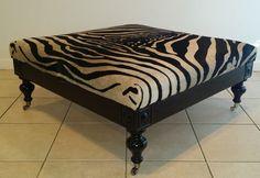 Ebony Zebra Cowhide Ottoman #Traditional