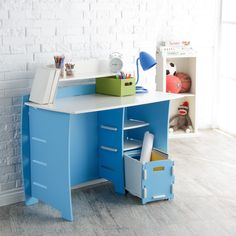 Legare 43 in. Desk with Shelf and File Cart - Blue and White *** Check out the image by visiting the link. (This is an affiliate link) Corner Desk Shelf, Desk Shelves, Kids Study Desk, Kid Desk, Home Office Furniture, Furniture Design, Study Table Designs, At Home Store, Quality Furniture