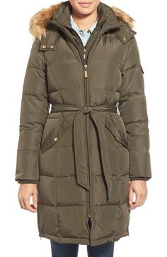 Ellen Tracy Belted Down Coat with Detachable Faux Fur Trim Hood (Regular & Petite) available at #Nordstrom