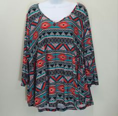 Eye Candy 2X Shirt Top Blouse Swing Style Red Blue Abstract V Neck Stretch Aztec #EyeCandy #KnitTop #Casual