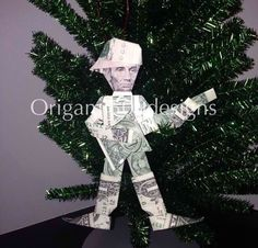 Money Origami Christmas Tree Ornament - Abe Lincoln playing guitar