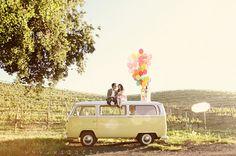 Volkswagen bus, ballons, nature and wedding