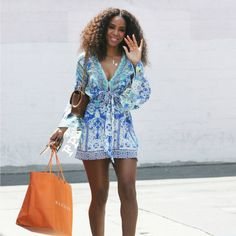 Get the Look! Kelly Rowland Rocks the Perfect Summertime Printed Romper from essence.com