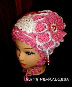 Crocheted flower hat