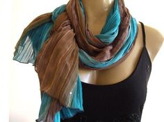 Turquoise blue and earthy Browns Crinkled Chiffon Sequins