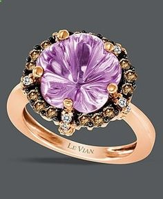 Le Vian 14k Rose Gold Ring, Purple Amethyst (3 ct. t.w.) and Brown and White Diamond (3/8 ct. t.w.) Ring