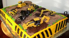 Construction Shower Cake: Rectangular would be easier to transfer than a tiered cake.