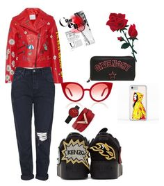 A fashion look from September 2017 featuring red jacket, ripped jeans and black shoes. Browse and shop related looks. Givenchy, Valentino, Mira Mikati, Kenzo, Ripped Jeans, Black Shoes, Topshop, Fashion Looks, Polyvore