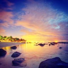 "Walk along the beach of ""Le Victoria Hotel""   Mauritius"