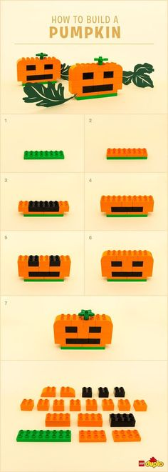Planning for Halloween? This DIY LEGO DUPLO pumpkin comes with no stickiness guaranteed Lego Halloween, Belle Halloween, Halloween Pumpkins, Diy Lego, Lego Craft, Lego Minecraft, Lego Design, Legos, Lego Pumpkin