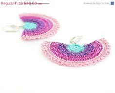 SALE Rainbow Crochet Lace Earrings in Mint Purple by PinaraDesign, $22.50