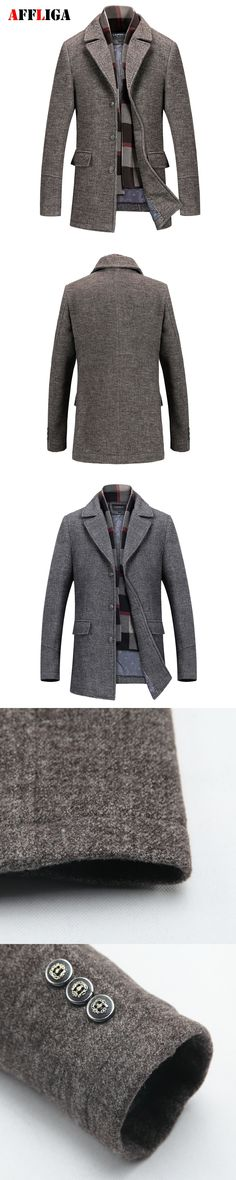 2017 New Winter Men Wool Trench Coat Men Long Warm Slim Fit Overcoat High Quality Mens Coats Fashion Thick Trench Outerwear