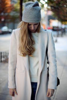 grey beanie & cream coat #style #fashion