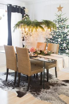 Don't forget to decorate your chandelier for the holidays! It's a great way to add some interesting dimension to your dining room.