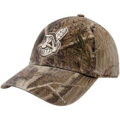 '47 Brand Cleveland Indians Real Tree Camo Franchise Fitted Hat