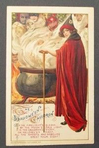 "The detail and art Nouveau influence make John Winsch postcards magical and bewitching. Collectors pay more than $100 for just one of these cards in excellent condition. This postcard by Samuel Schmucker is called ""The Halloween Cauldron"" and embodies the magical spirit of Halloween."