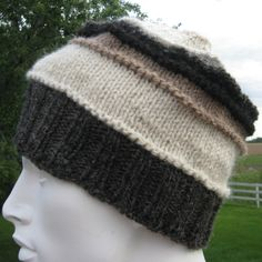 Knit Wool Hat for Men or Women, Alpaca Handmade Beanie, Warm Winter Beanie, Striped Slouch, Gray, White, Tan, and Black Hat by NorthStarAlpacas on Etsy