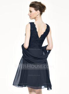 Forme Princesse Col V Longueur genou Mousseline Dentelle Robe de mère de la mariée avec Emperler Sequins Robe à volants (008062545) - JJsHouse