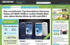 The price of the Samsung GALAXY S3 is lately but rapidly.  Now, the Android smartphone is already available for incredible EUR 439.00 on a deal with Groupon. For your money, the Samsung GALAXY S3 gets into pebble-blue, the white model will cost EUR 449.00. The delivery time is 10-12 days.