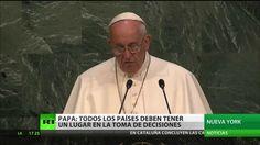 """El Secretario General de la ONU, Ban Ki-moon, mostró su agradecimiento al Papa Francisco por """"hacer historia"""". El Papa acudió este viernes a la 70º Asamblea ..."""