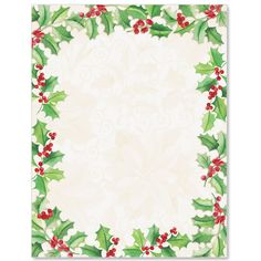 Holly Collage Letter Paper  Idea Art  Christmas Party And
