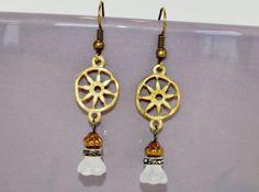 Golden Wheel Dangle Earrings Bead and Charm by by DebbieRenee, $14.00