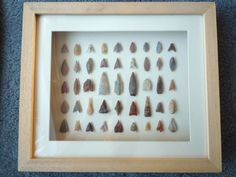 Neolithic Arrowheads in 3D Pine Frame, 4000BC - READ DESCRIPTION (Z098)