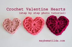 Crochet Valentine Hearts with step by step photos and instructions