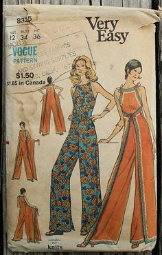 RARE Very Easy Vogue 8335 1970s 70s Wrap Front Jumpsuit Jumper Sewing Pattern Size 12 Bust 34