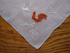 Rooster Hanky,  Unused Vintage Hanky With Tag, Madeira Linen, Vintage Handkerchief, Roosters, Embroidered Hanky, Linen Hanky, Madeira Hanky by BeautifulPurpose on Etsy