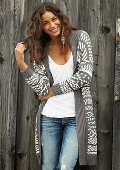 long grey and white aztec print cardigan
