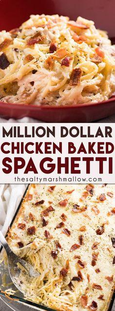 Million Dollar Chicken Spaghetti - The best ever chicken spaghetti that is easy to make! This mouthwatering chicken spaghetti casserole is rich and hearty, full of cream cheese, bacon, sour cream, parmesan, mozzarella, tender chicken, and spaghetti noodl  (creamy mozzarella chicken)