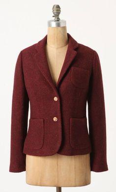 CARTONNIER ANTHROPOLOGIE Burgundy Tweed Jacket Herringbone Fox Buttons NEW - 10  #Anthropologie #Blazer