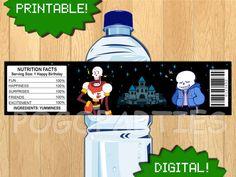 PRINTABLE Undertale Bottle Label Wrap undertale by PogoParties