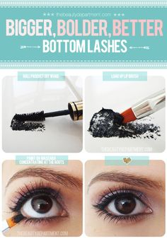 Great tip - use lip brush toying on mascara on lower lashes - put mascara on back of your hand, put brush in it, brush on as close to root as possible.