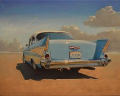 """Daily Paintworks - - It Was All About Rocket Fins"""" - Original Fine Art for Sale - © P D Jensen 1957 Chevy Bel Air, Car Themes, Photorealism, Car Painting, Realism Art, Fine Art Gallery, Art Oil, Oil Paintings, Watercolor Paintings"""