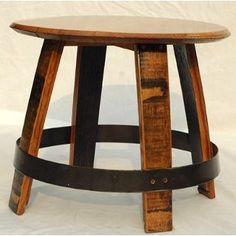 Ring Barrel Head Stave Table is made from recycled barrel parts. See a huge collection of one-of-a-kind wine tables constructed from barrel staves.