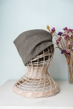 1920s and timeless-style checked fabric hat. by ContrapuntPatterns