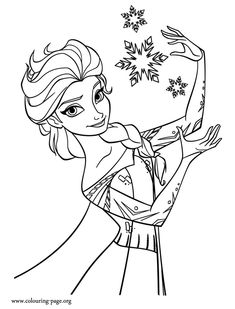 In this beautiful picture, Elsa is making snowflakes. Another free and printable Disney Frozen movie coloring sheet. Enjoy!