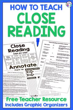 Learn to teach close reading with this free resource that includes close reading graphic organizers, a close reading anchor chart, annotation symbols, and teacher directions for how to teach close reading strategies. Perfect for teaching and working with passages in 3rd grade, 4th grade, 5th grade, 6th grade, and middle school. With ideas for implementing close reading skills into lessons, this no prep freebie makes it easy for teachers to start teaching close reading skills today! Print and…