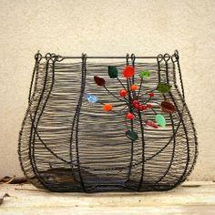 Barevný podzim - drátovaný košík.