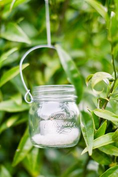 Hanging Mason Jars in Lemon Trees with Tea Candles