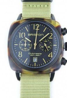 Montre Briston Clubmaster Chronographe Ecaille de tortue mat