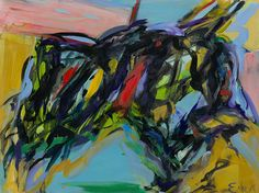 "April 12, 2016, EXTREME PAINTING, ""It's a matter of getting an olive into your martini from across the bar. According to the handbook..."", (image: ""Juarez"" 1958 oil on masonite, 35 3/4 x 47 7/8 inches Elaine de Kooning (1918-1989)"